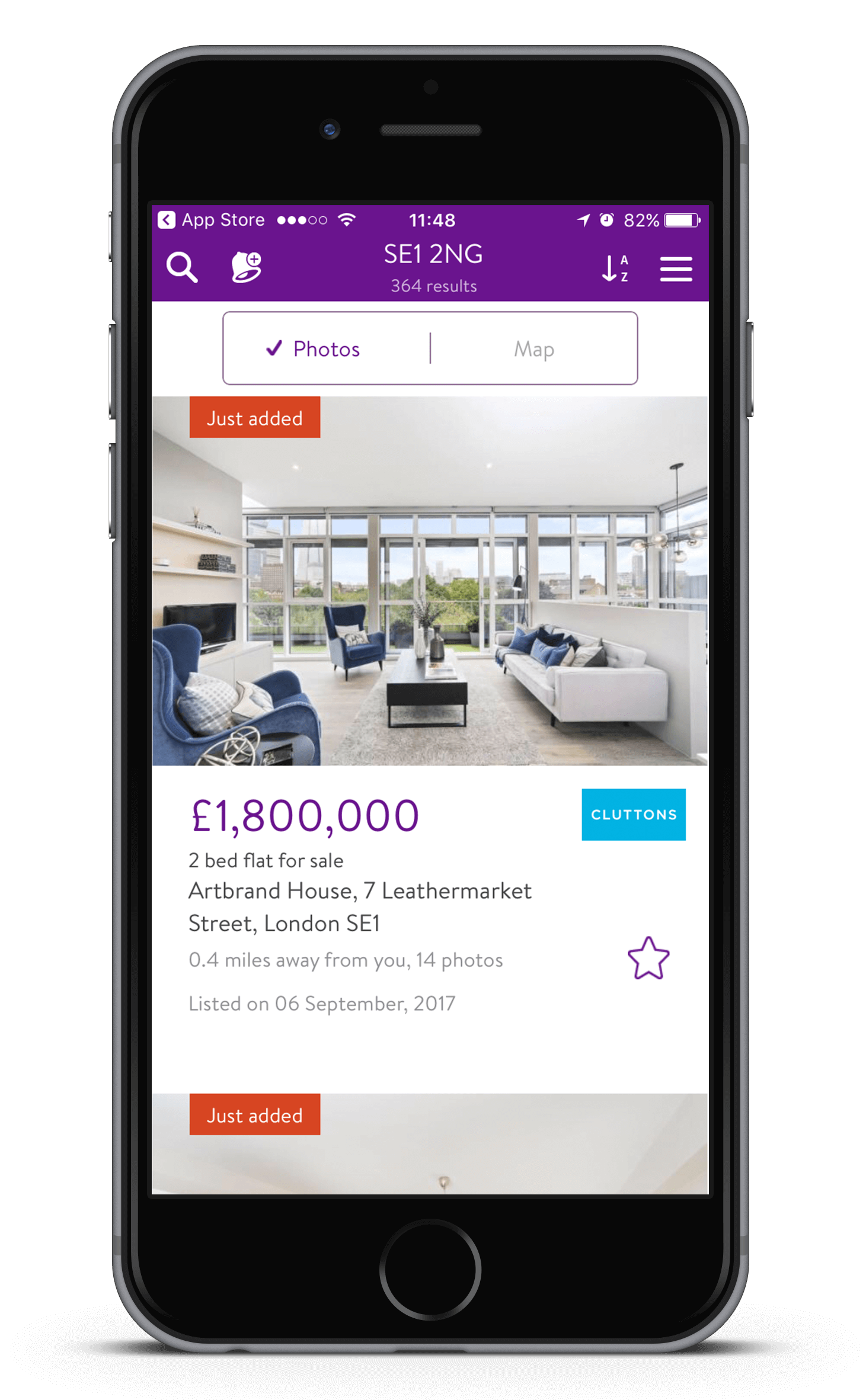 Zoopla iPhone App - Listing view